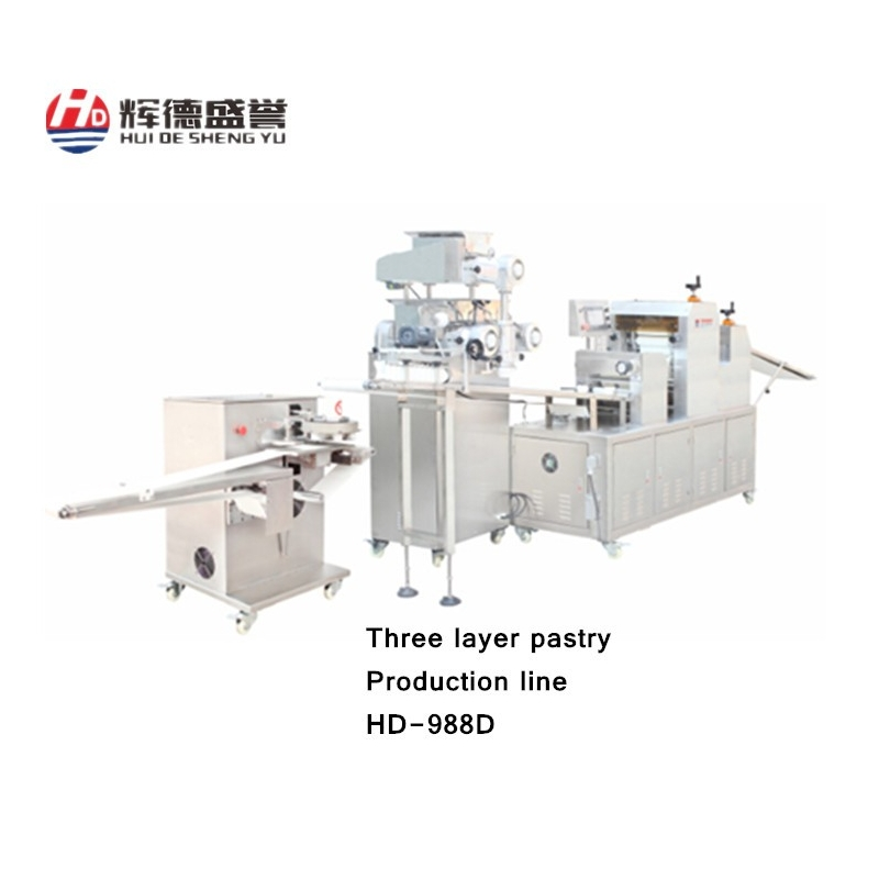 Three Layer pastry production line for pastry/filling bun/snack/pancake/crisp