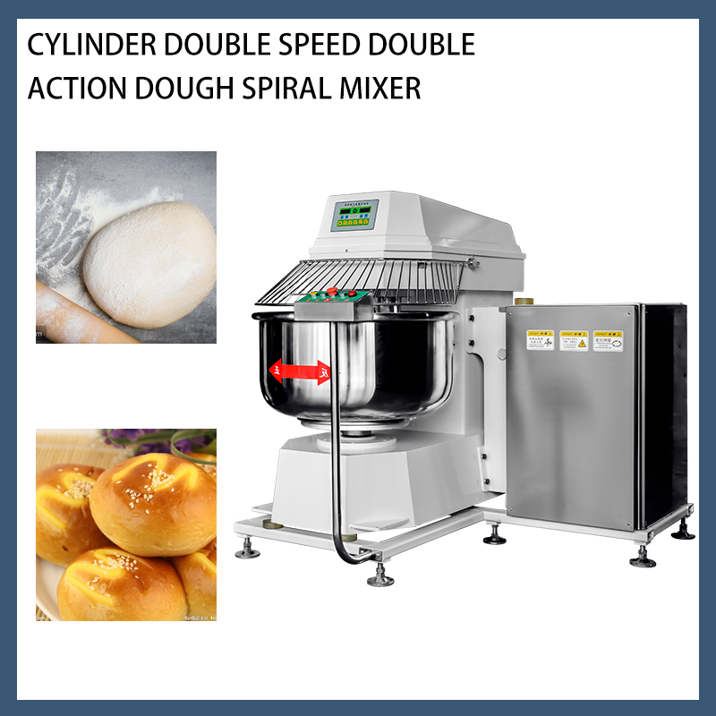 Heavy Duty Turn over formula Double acting double speed Dough Spiral Mixer 125KG Dough mixer YMF-125