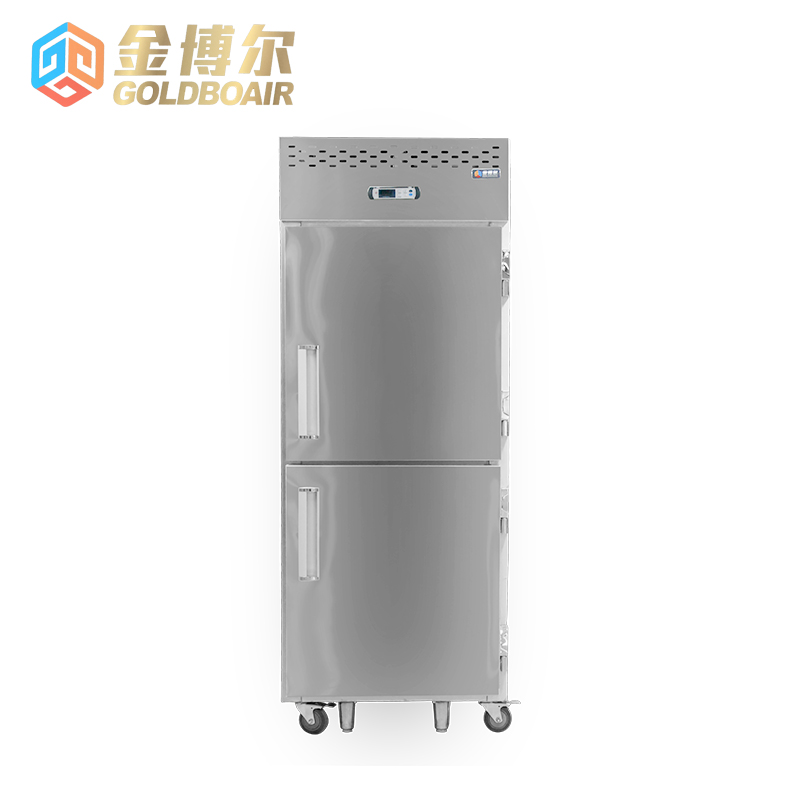 Upper and lower door double system, refrigeration cabinet